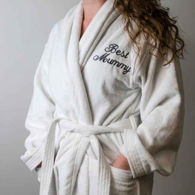 Luxury Embroidered Velour Cotton White Bathrobe