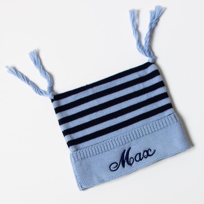 Luxury Merino Wool Stripy Hat - Stripy Blue