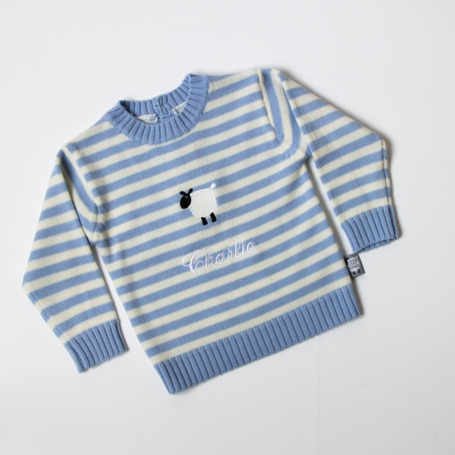 Little Nitwits - Luxury Merino Wool Stripy Round Neck Jumper