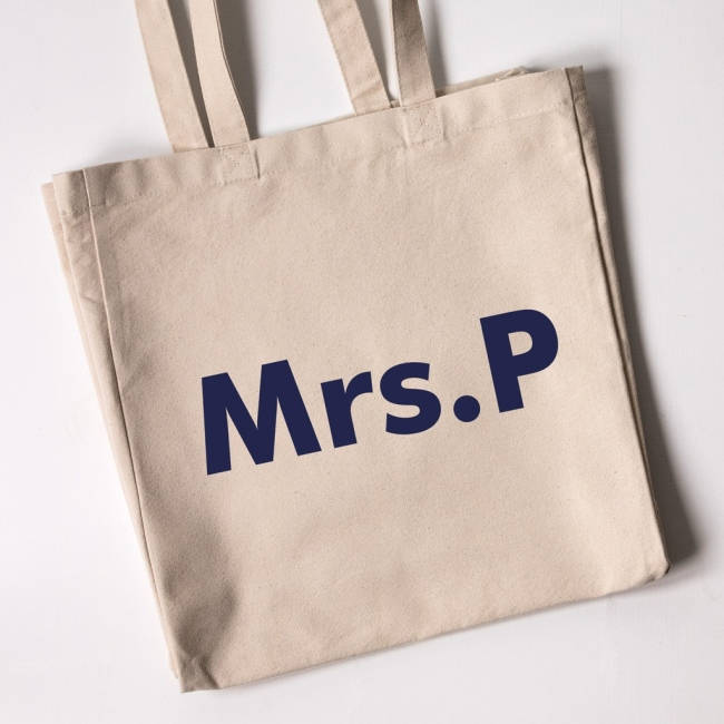 Teacher Tote Bag - Text Only (Natural)
