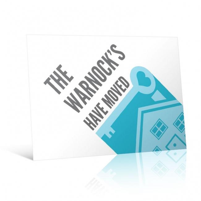 House Key Motif - Change of Address Postcard