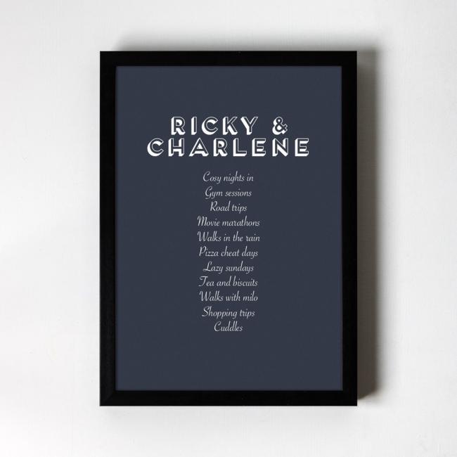 Favourite Things Personalised Art Print