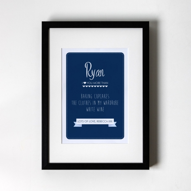 I love you more than... Navy - Personalised Art Print