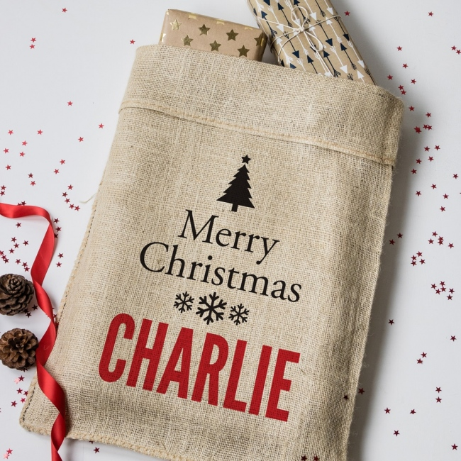 Personalised Christmas Tree Hessian Sack