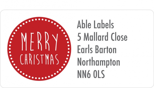 Christmas A4 Sheet Labels - Merry Christmas