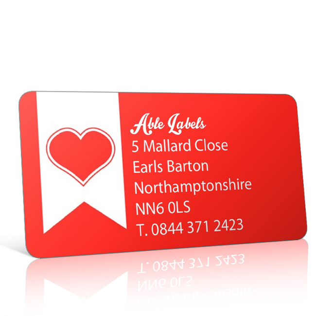 Pre Designed Red Heart Address Label on A4 Sheets