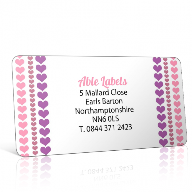 Pre Designed Hearts Stripe Address Label on A4 Sheets