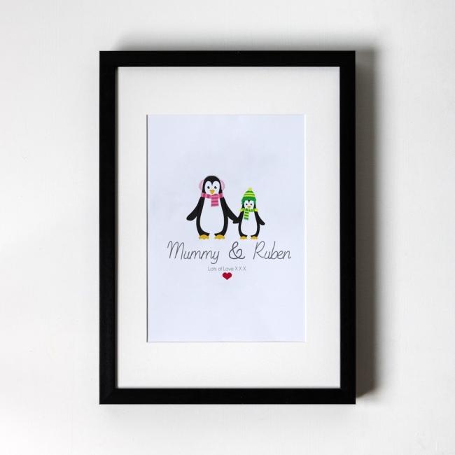 Mum & Child Penguin - Personalised Art Print (Black Frame)