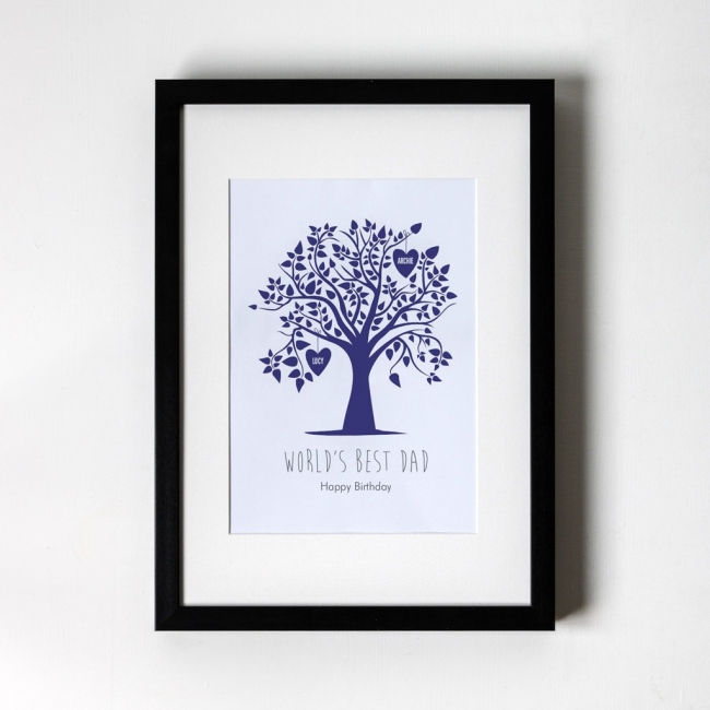 Blue Family Tree - Personalised Art Print