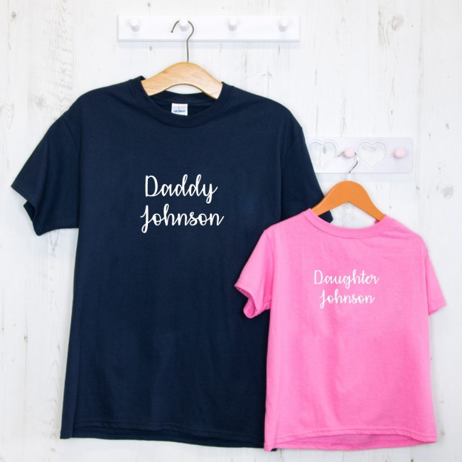 Personalised Embroidered Father's Day T-Shirt Set