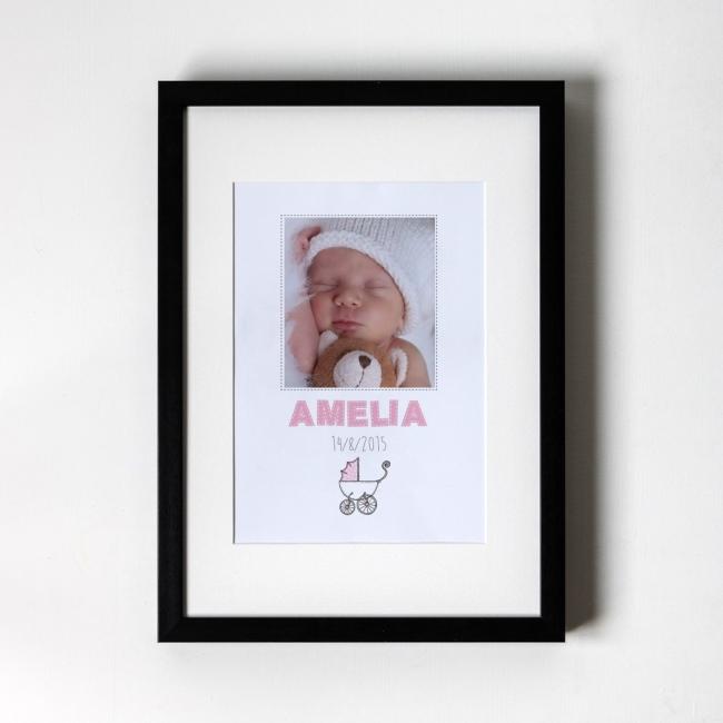 New Born Baby Girl - Personalised Art Print