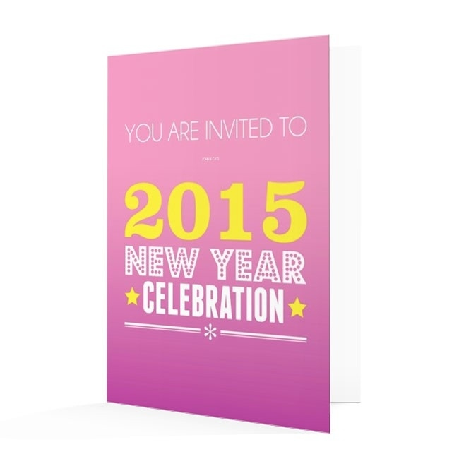 new years invitation card bright pink