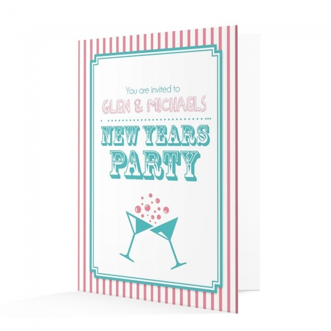 new years invitation card pink and blue candy stripe