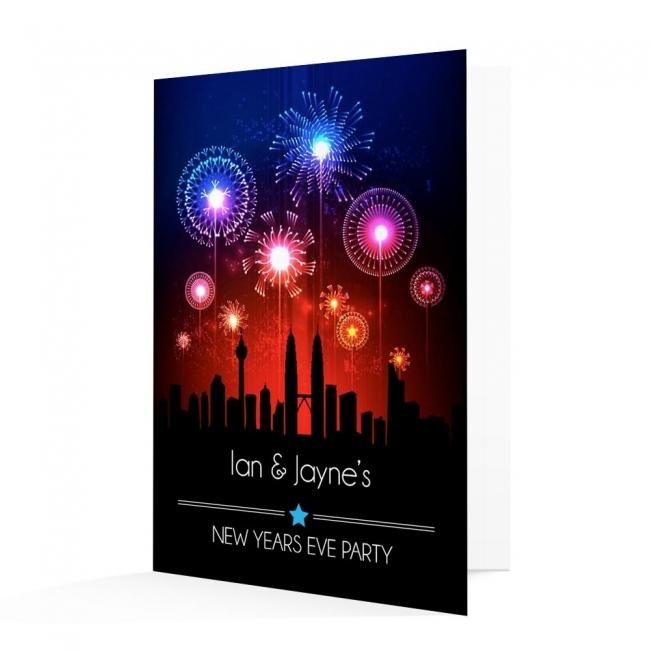 New Year's Invitation Card - Fireworks