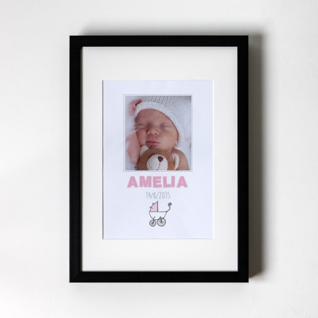 New Born Baby Girl - Personalised Art Print