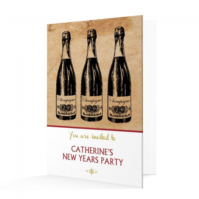 New Year's Invitation Card - Champagne