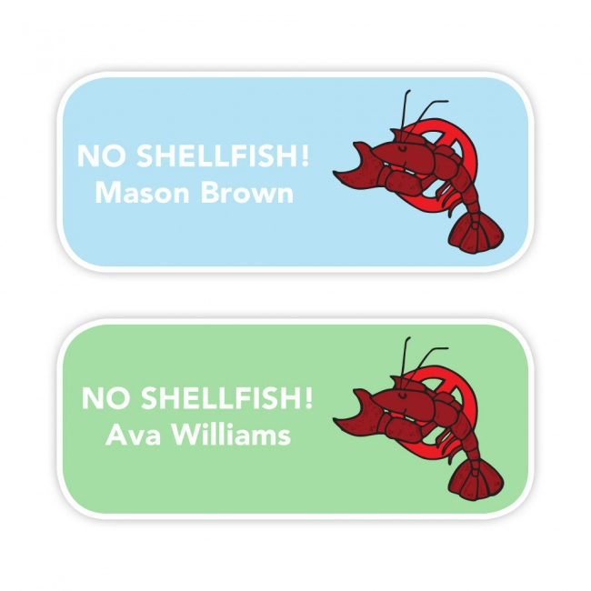 No Shellfish - Allergy Labels - Style 2