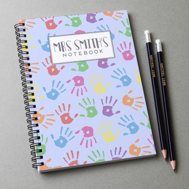 Personalised Notebook and pencils - hand print design