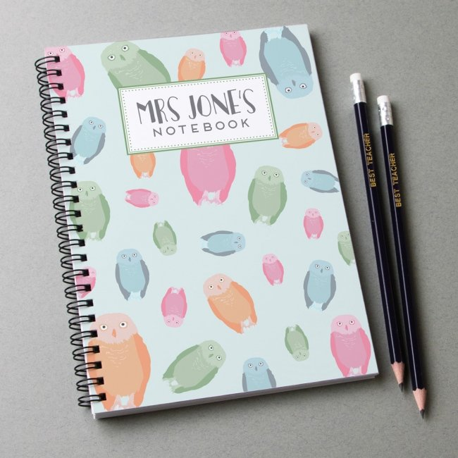 Personalised Notebook and pencils - owl print design