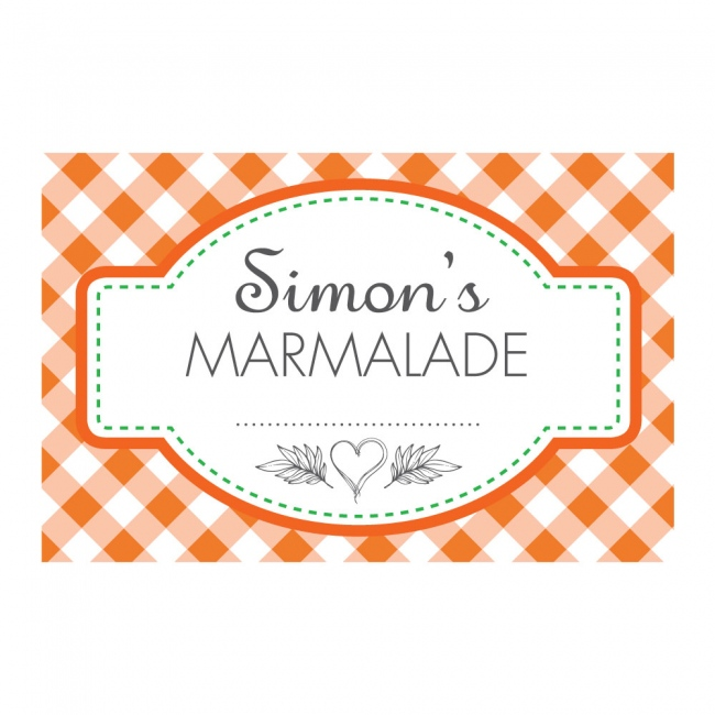 Gingham Orange - Jam Jar Labels