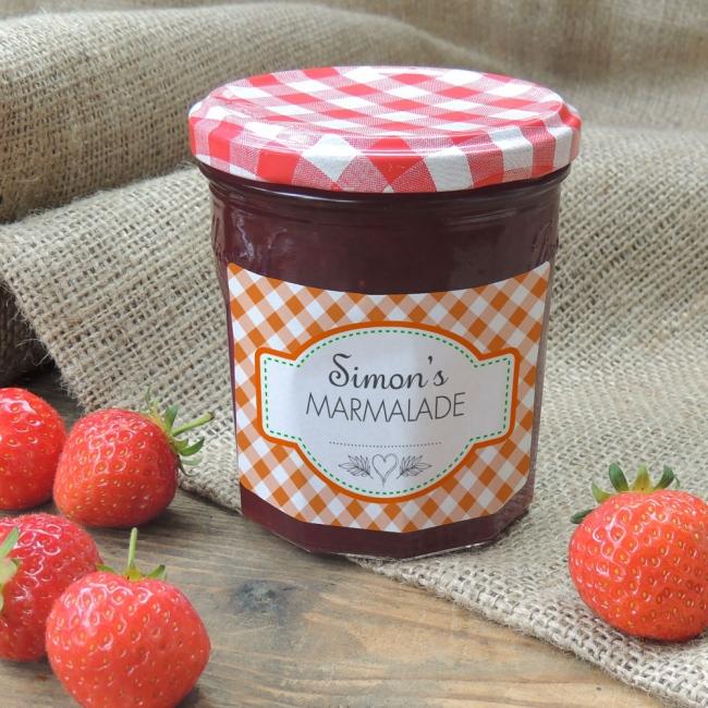 Gingham Orange - Jam Jar Labels