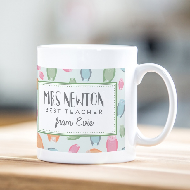 Personalised teacher mug – owl print design