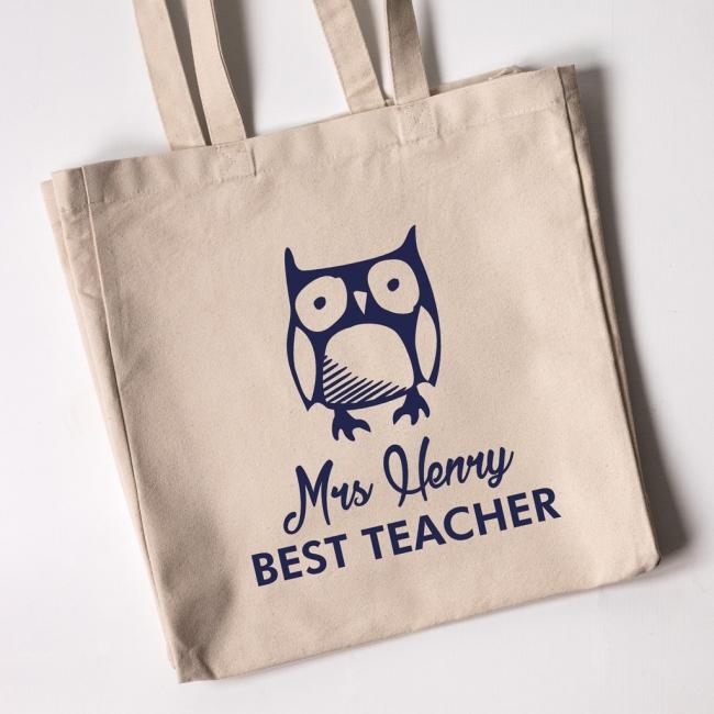 Best Teacher Owl Tote Bag (Natural)