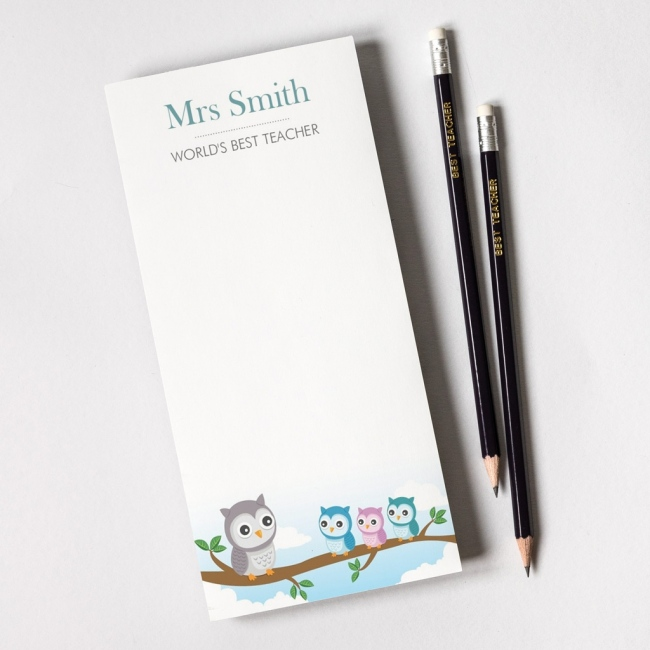 Personalised Teacher Notepad and Pencils - Owl School