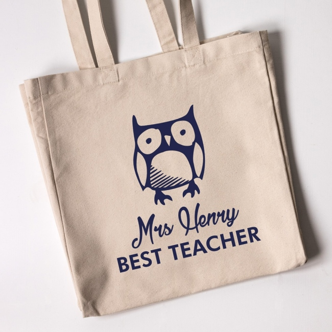 Best Teacher Owl Tote Bag (Natural)