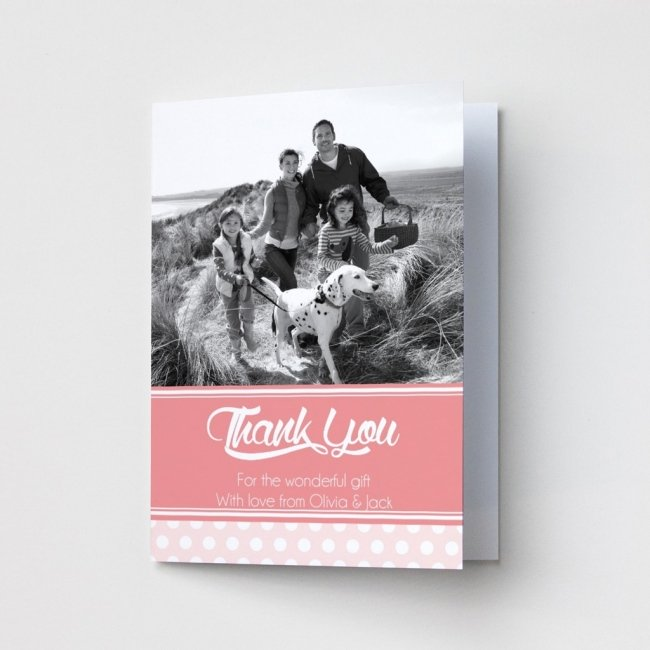 Pink & Dotty Photo Thank You Card