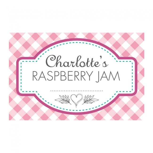 Gingham Pink - Jam Jar Labels