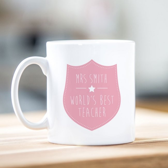 Pink Shield Teacher Mug