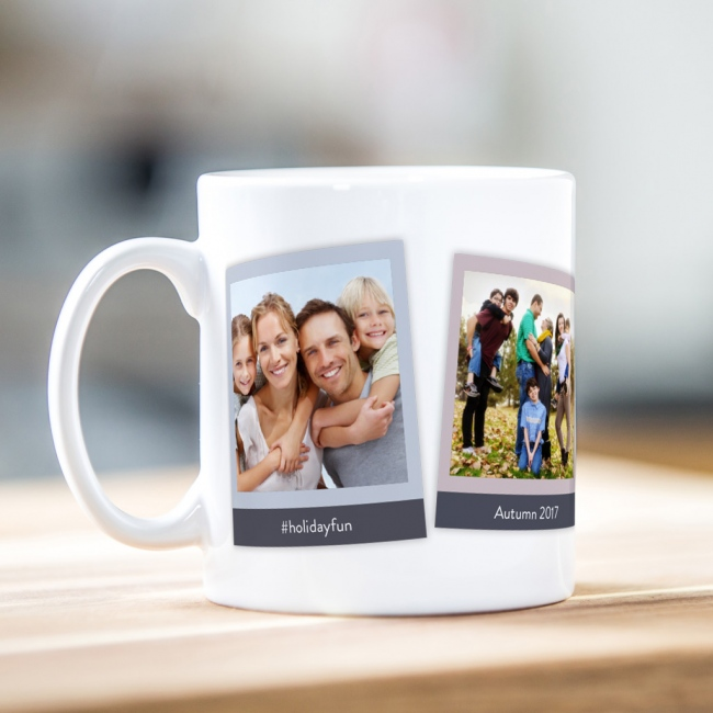 Retro style photo mug (three photos)
