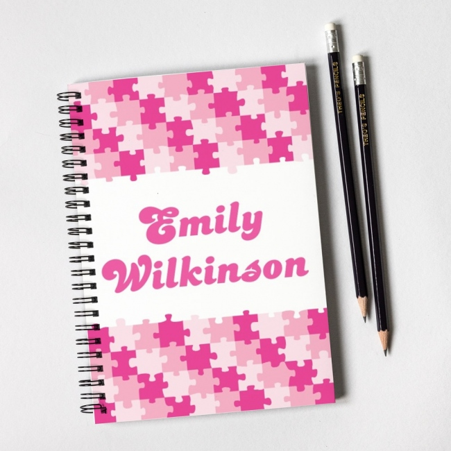 Pink Puzzle Notebook & Pencil Gift Set