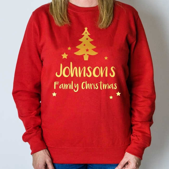 Personalised Christmas Jumper - Tree (Red)