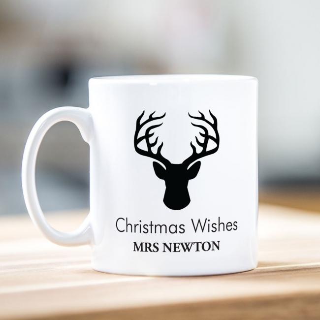 Reindeer Silhouette Christmas Mug