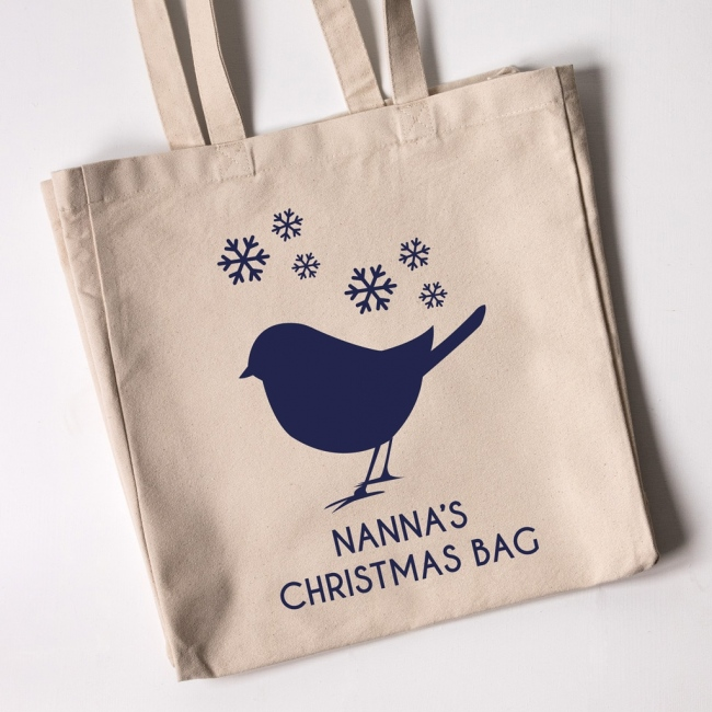 Personalised Christmas Tote Bag - Robin