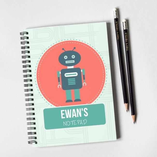 Robot Notebook & Pencil Gift Set