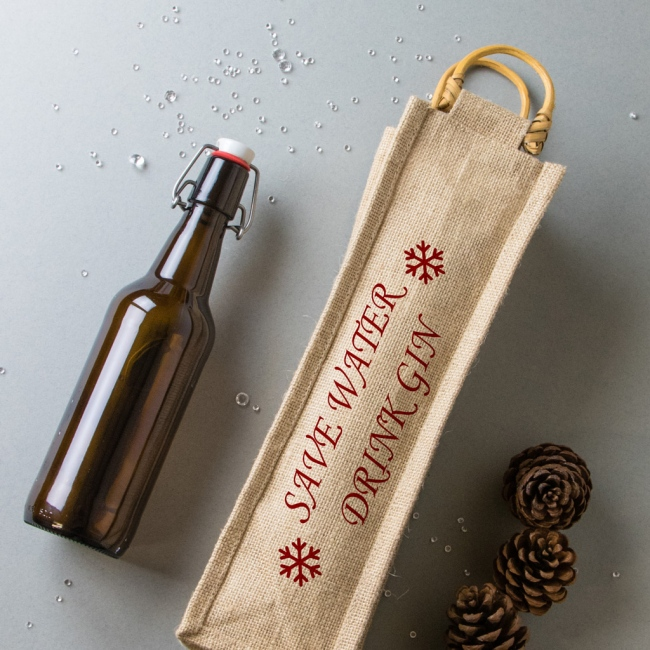 Christmas Bottle Bag - Save Water Drink Gin