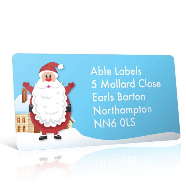 Christmas A4 Sheet Labels - Santa in the Snow