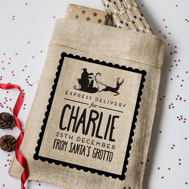 Personalised Christmas Stamp Hessian Sack