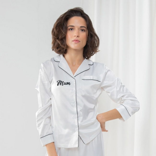 Personalised Embroidered Satin Pyjamas