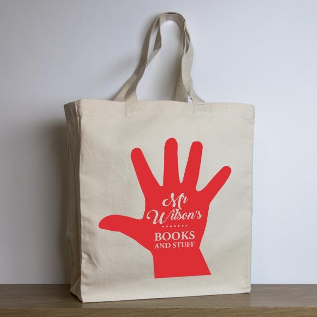 Personalised Teacher Tote Bag – Hand Print Design
