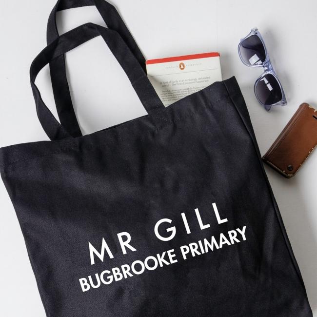 Personalised Teacher Gift Tote Bag - Sans Serif