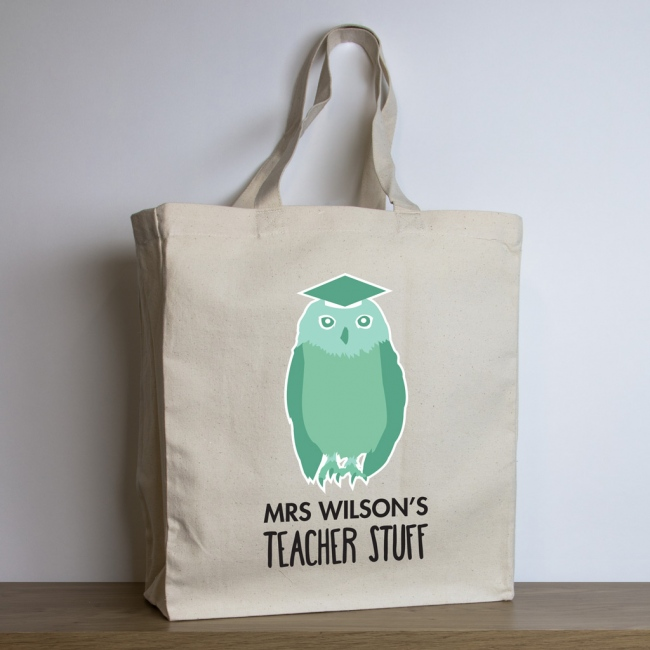 Personalised Teacher Tote Bag – Owl Design