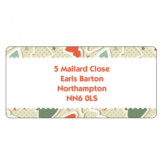 Christmas A4 Sheet Labels - Tree Pattern Border