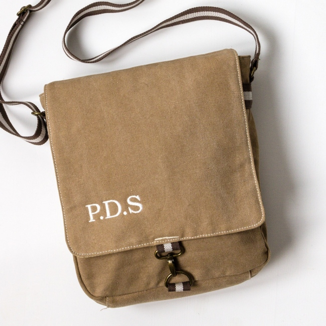Personalised Vintage Style Messenger Bag