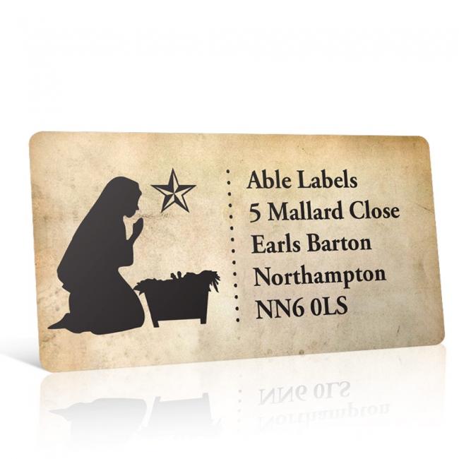 Christmas A4 Sheet Labels - Vintage Manger