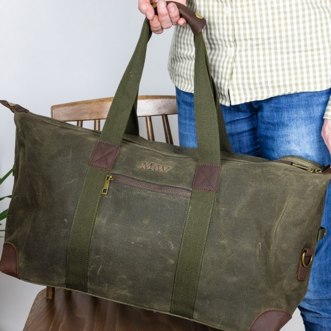 Personalised Embroidered Waxed Weekend Bag
