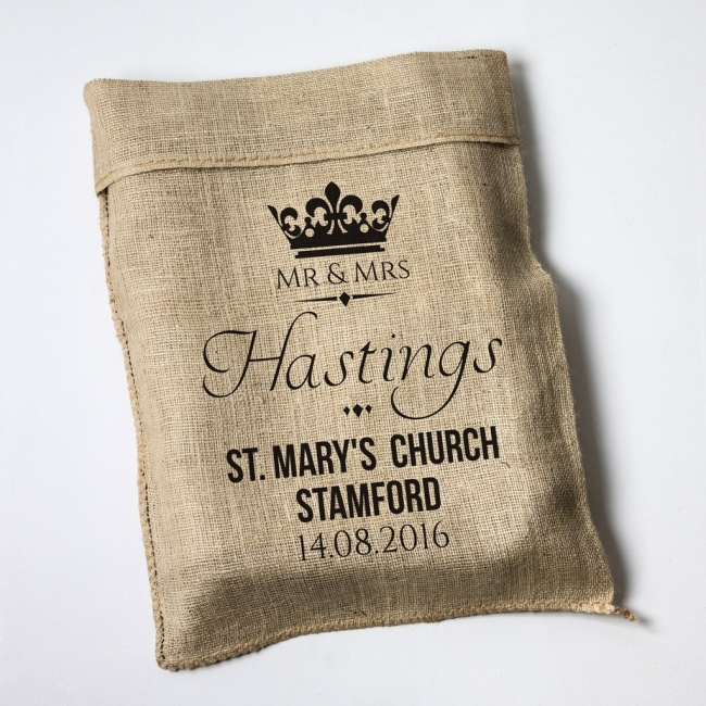 Personalised Wedding Crown Hessian Sack